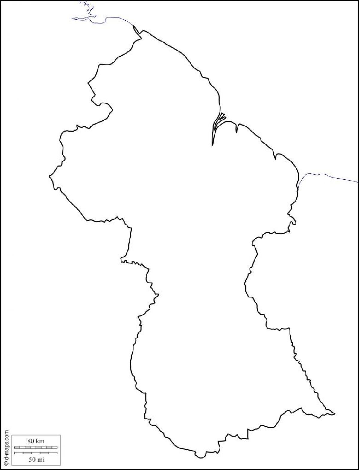 La Guyane Carte Plan Carte Vierge De La Guyane Amérique